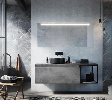 Matrix beton antraciet + 40cm frame + waskom Note zwart mat